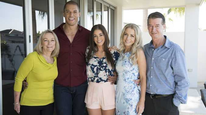 The Bachelor Blake Garvey pictured with Lisa Hyde, centre left, and her mum Anne, sister Sarah and father John in Noosa.