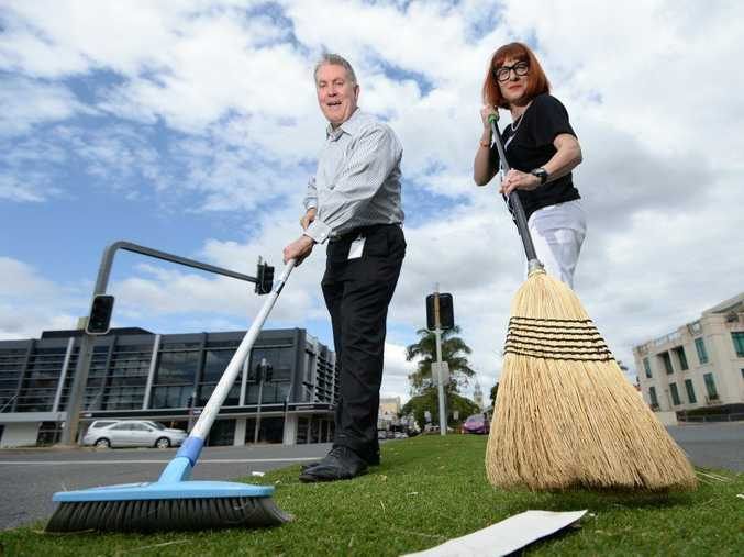 L-R Russell Claus (RRC CBD Revitalisation Program Coordinator) with Bronwyn Fenech are ready to roll up their sleeves and get to work revitalising the city's Business District. Photo: Chris Ison / The Morning Bulletin