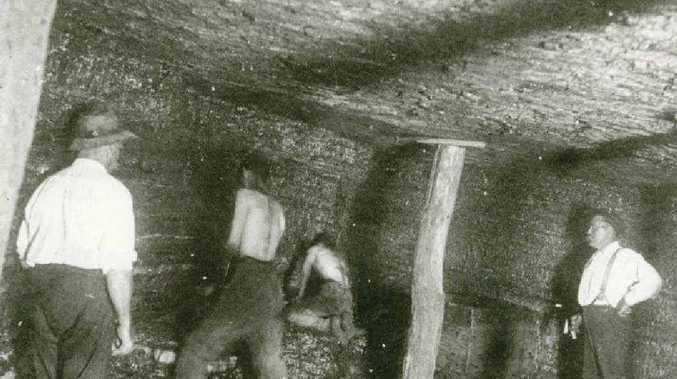 BLACKSTONE BOYS: Workmen hew coal from the Bogside Pit, Cooneana Estate, in earlier days.