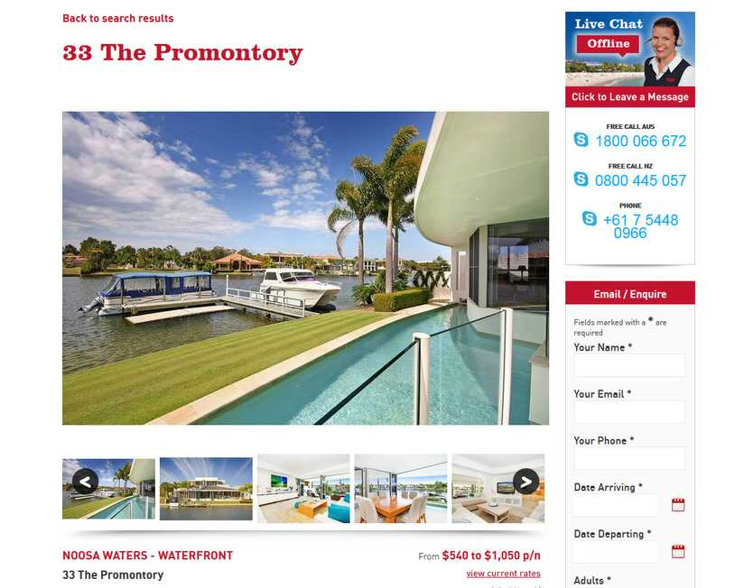 The waterfront home as listed on the R&W Noosa Holidays website.