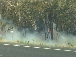 Warrego closed near Grantham due to grass fire