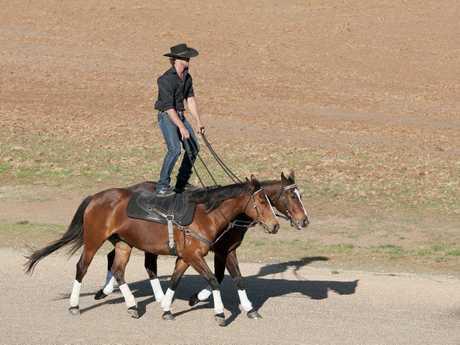 Donal Hancock of Double Dan Horsemanship demonstrates roman riding.