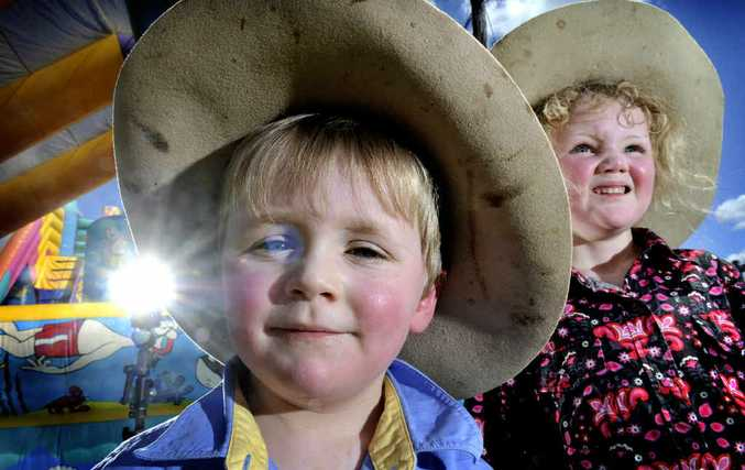 Chaylee Bruyn, four and her brother Connor, three of Warwrick, at the Kyogle Annual Show at the Kyogle Showgrounds.