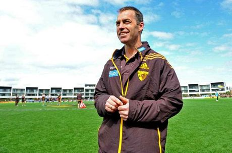 Hawthorn coach Alastair Clarkson looks on at Waverly Park in Melbourne, Thursday, Sept. 25, 2014. Hawthorn play the Sydney Swans in Saturday's AFL Grand Final.
