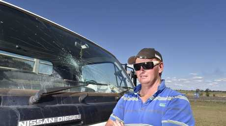 Road rage incident near Westbrook, Jamie Cowling had his truck damaged by an out of control driver, who punched his windscreen. The car had Victorian number plates. Photo: Bev Lacey / The Chronicle