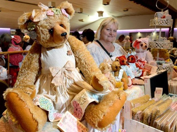 GRIN AND BEAR IT: Teddy bear maker Lisa Dopking with her prized handmade bear, worth $500.