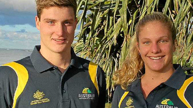 WORTHY CHAMPS: Byron Bay surf lifesavers Josh Brown and Ela Heiniger, who did Australia proud in the Rescue 2014 Life Saving World Championships in France.