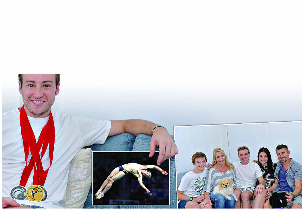 UP FOR IT: A gold medallist at the Beijing Olympics, Matthew Mitcham wants to compete at the 2016 Rio Games. Inset right: Matthew spends time with his family on the Coast.