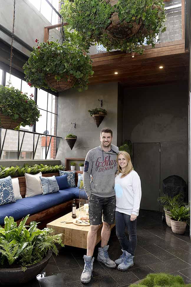 Dee and Darren in their winning outdoor terrace.