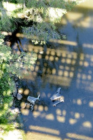 INSET: Trolleys dumped in the river.