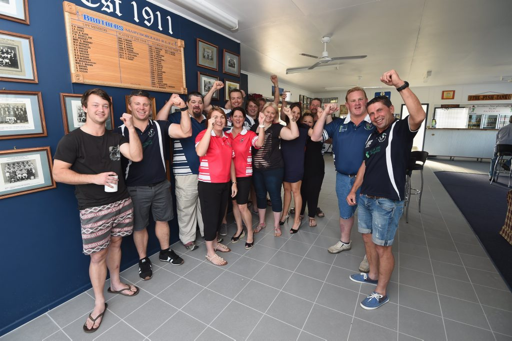 Brothers Maryborough clubhouse reopens after last years floods - Chris Bourke (jnr. pres) and (R) Jeff Nugent (snr. pres) with mebers and friends celebrate the revamped club house.