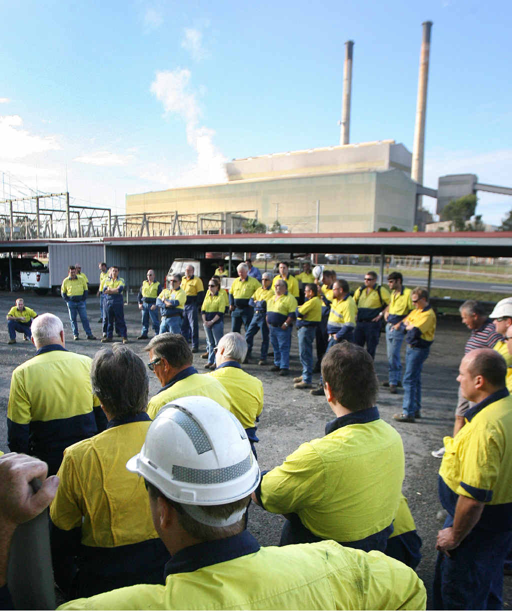 UNCERTAIN TIME: Swanbank Power Station workers at a past meeting to discuss the future of the plant.