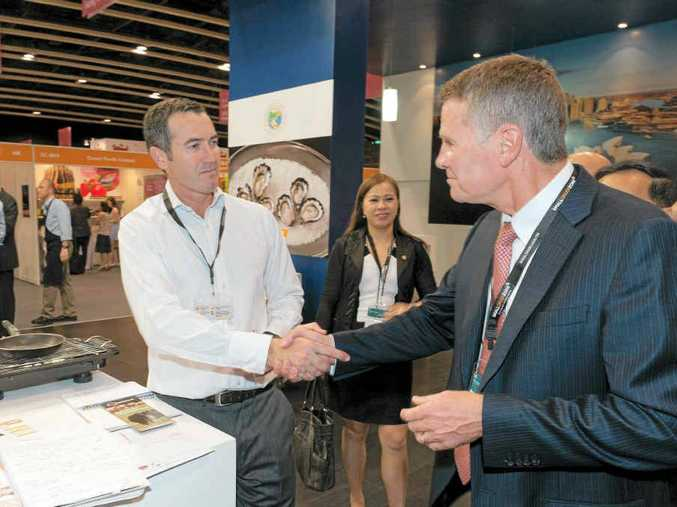 WHERE'S THE BEEF: Merrick Blok of Lismore-based Lee Pratt Beef welcomes NSW Deputy Premier and Minister for Trade & Investment Andrew Stoner to the NSW Stand at the Hong Kong Food expo.