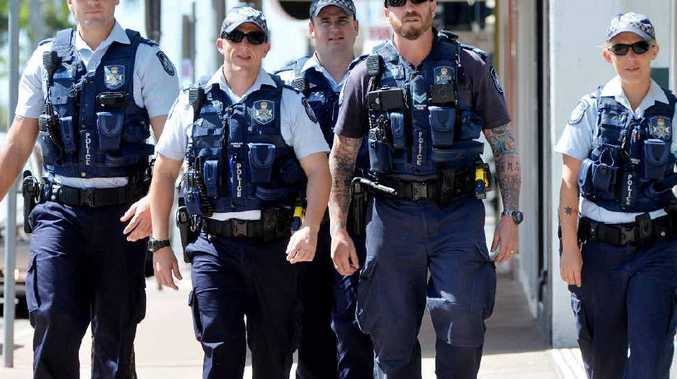 New police task force in Mackay- Constable Tom Bisset, Constable Lorenzo Marabini, Constable Michael Foreman, Senior Constable Gavin Hill and Constable Sam Taylor on the beat Photo Tony Martin / Daily Mercury