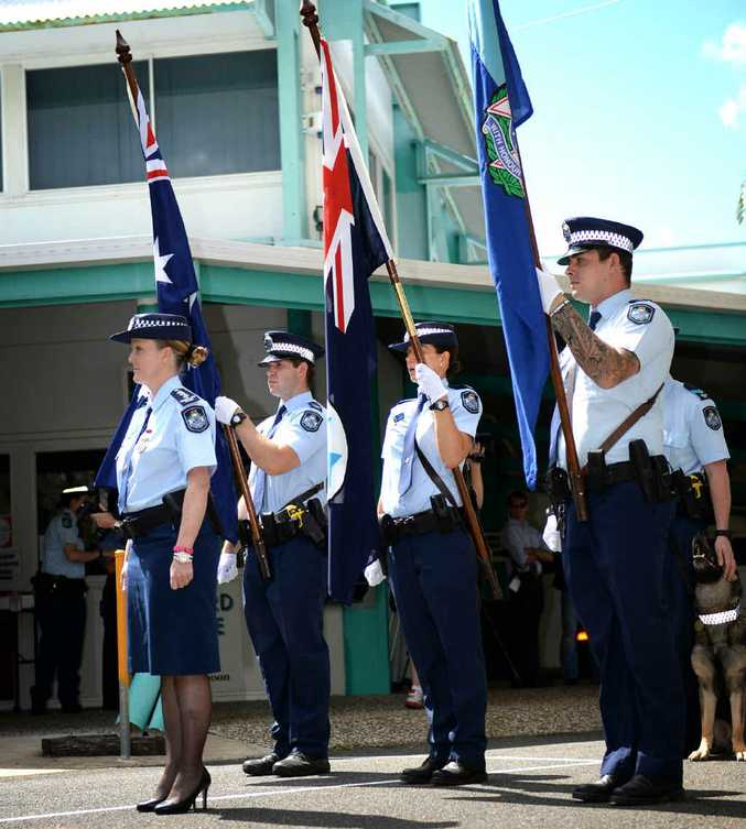 SERVING WITH HONOUR: Police march to the Rockhampton Baptist Church for the National Police Remembrance Day Service.