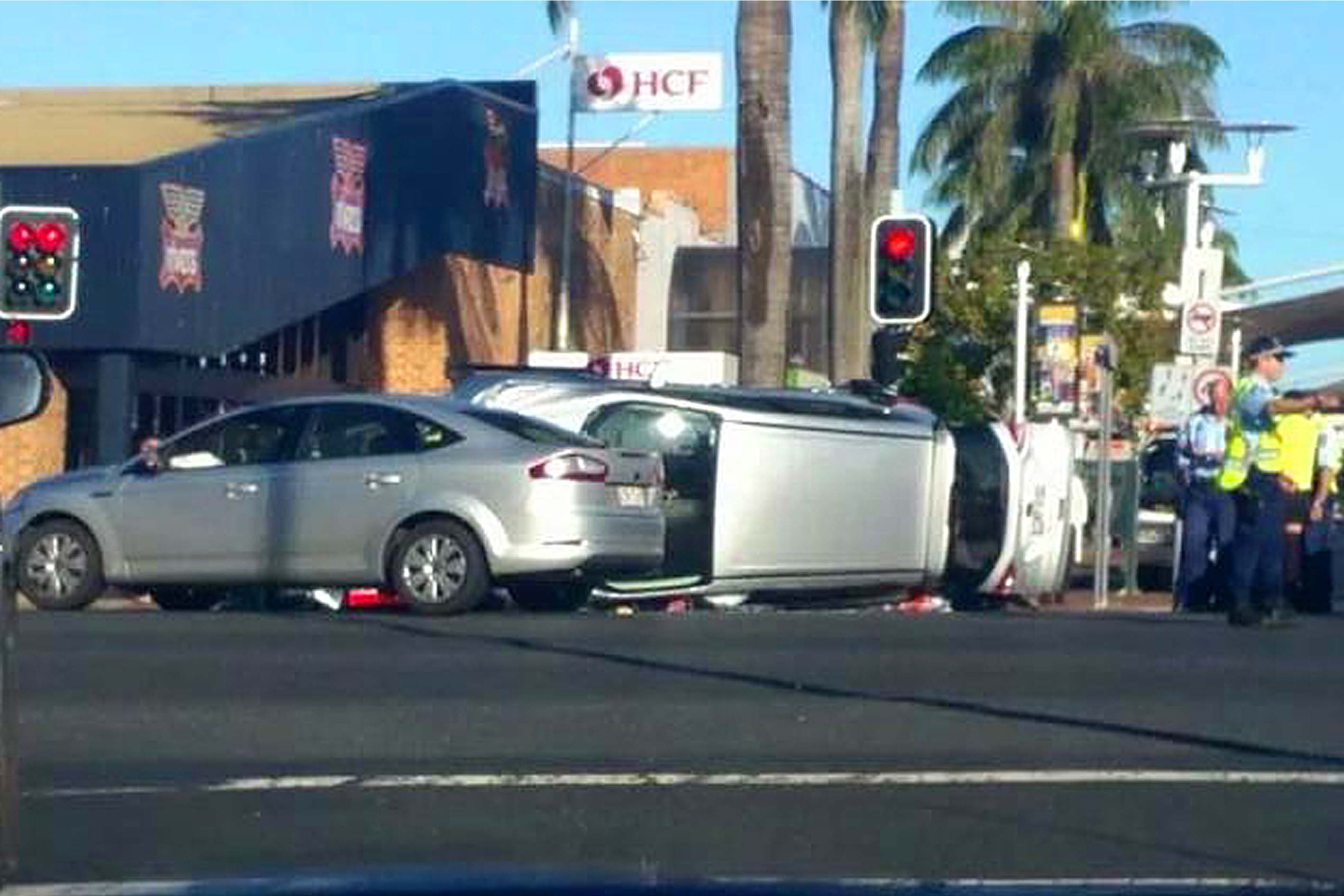 The man who caused this crash, injuring a mother and her child, fled the scene and is wanted by police.