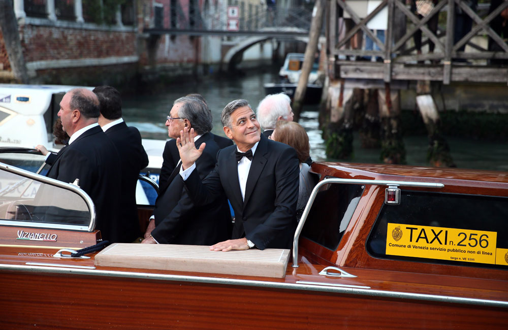 George Clooney arrives at the Aman Hotel where he is set to marry Amal Alamuddin
