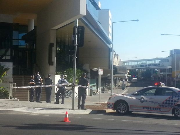 Police have blocked off Bell Street in Ipswich CBD to investigate a suspicious bag that has been left near the Icon Building.