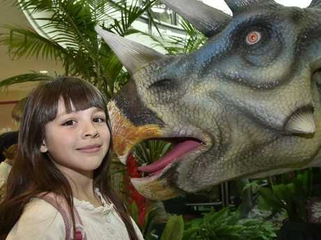 Sophia Yamasita, 9, checks out the dinosaurs at Grand Central.
