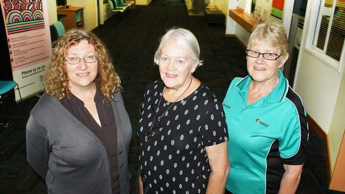 (L-R)Rockhampton Hospital Social Worker Lisa Dykes thanks volunteers Trish Yocklunn and Julie Blair for their work with patients. Photo: Contributed