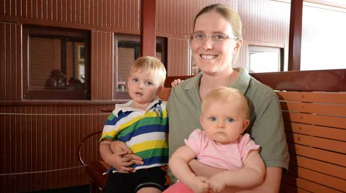 Lois Harris with her children Alex (2) and Rebecca (9months) at Archer Park rail Museum. Photo Allan Reinikka / The Morning Bulletin