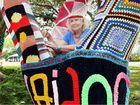 Yarn-bomber Kathy Renic in Scarness.