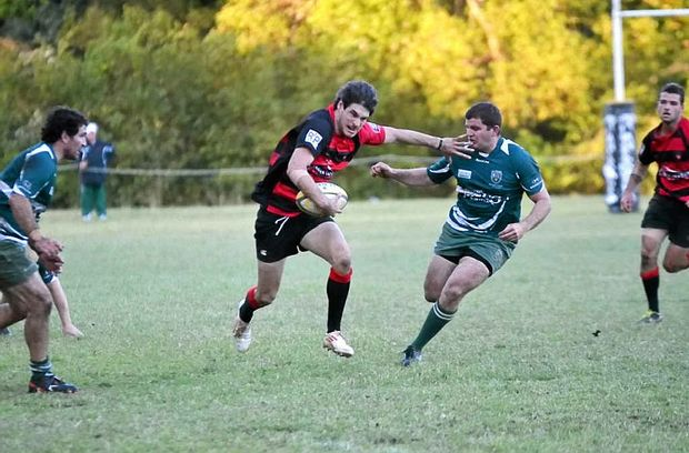 ON THE SURGE: Wollongbar-Alstonville captain Ben Damen took out the FNC Rugby Union best and fairest award for 2014.