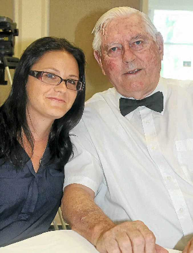 RED CROSS: At the Red Cross conference in Ballina are Anais Arrighi and her grandfather Alex Arrighi.
