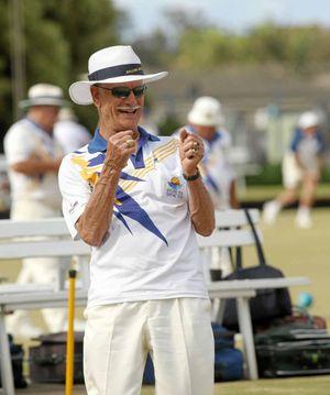BIG DAYA: Ray Marquardt during the 50-year celebrations bowling meet at the Ballina RSL Bowling Club on Saturday.