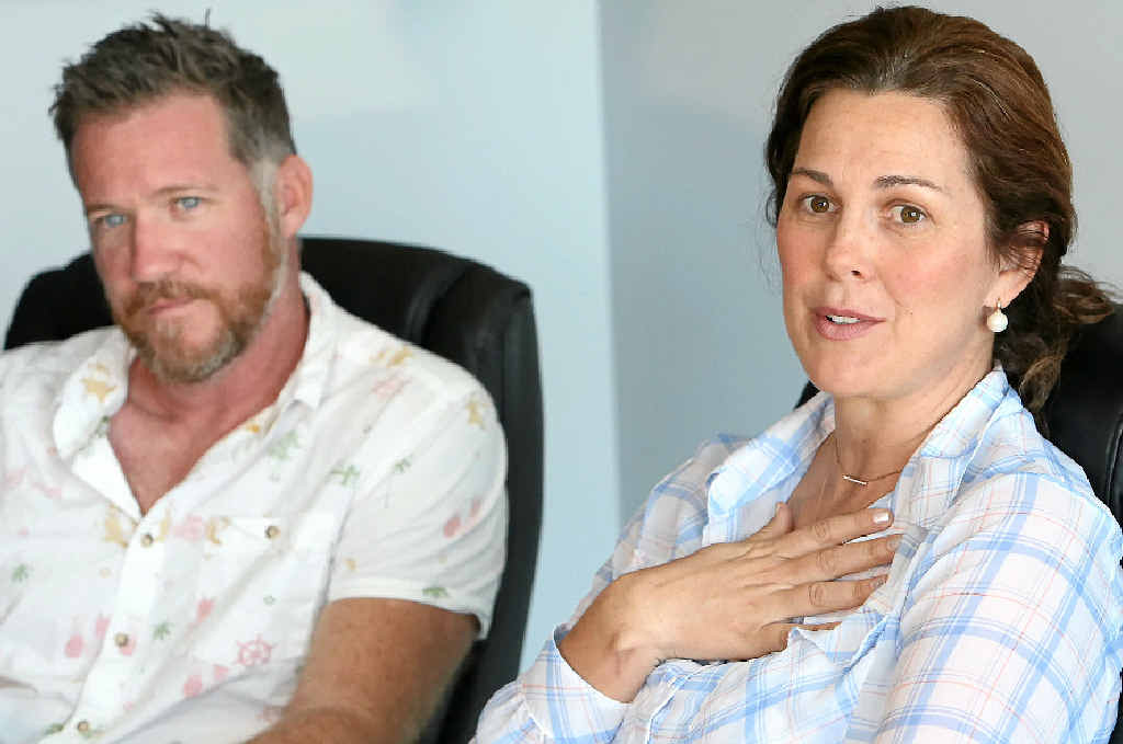 STUNNED: Todd Widdicombe with his sidekick Sami Muirhead, who was holding her newborn when a man king-hit Todd during a Caloundra festival while the pair was on air.