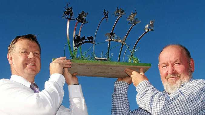 EQUINE VISION: Former Warwick Chamber of Commerce president Daniel Spry and businessman Henry Osiecki showed their support for the proposed sculpture.