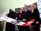 Qantas CEO Alan Joyce, with Sydney International Airport CEO Kerrie Mather (L) and Destination NSW CEO Sandra Chipchase (R), launch a world first A380 service from Sydney to Dallas at Sydney International Airport in Sydney, Monday, Sept. 29, 2014.