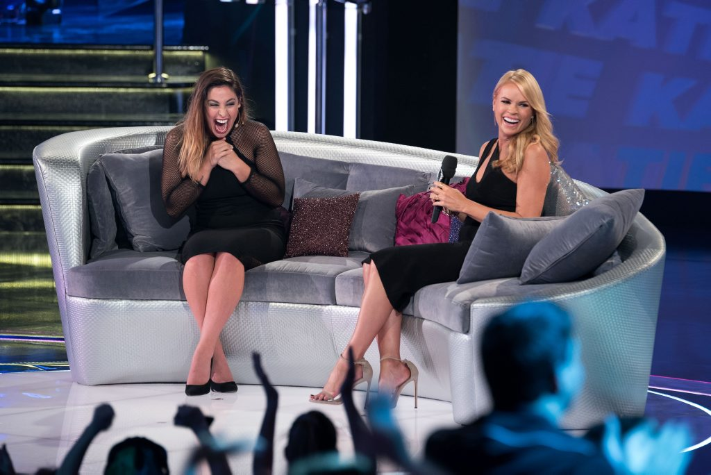 Big Brother 2014 evictee Katie Schepis with host Sonia Kruger.