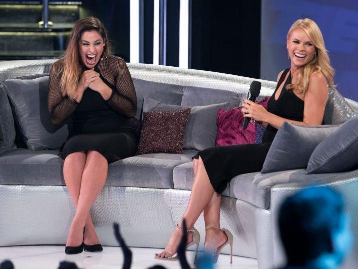 Big Brother 2014 evictee Katie Schepis with host Sonia Kruger.
