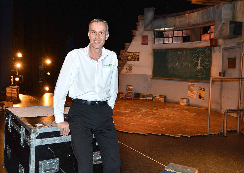 Manager of the Mackay Entertainment and Convention Centre Mark Fawcett as the set for Bell Shakespeares' Henry V goes up, has had it's best August since 2010. Photo Lee Constable / Daily Mercury