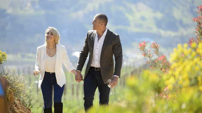 Louise Pillidge and Blake Garvey explore a Cape Town vineyard.