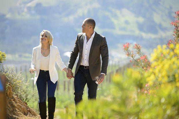 Louise Pillidge and Blake Garvey explore a Cape Town vineyard.