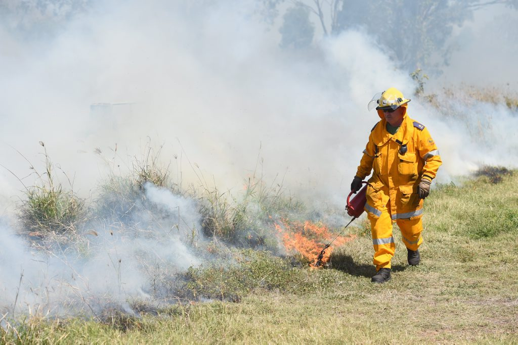 A rural firefighters sets grass alight at a controlled burn near North St at Point Vernon.