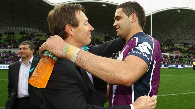 CRAIG Bellamy and Greg Inglis of the Storm hug at the end of the game during the round 26 NRL match between the Melbourne Storm and the Newcastle Knights at AAMI Park on September 5, 2010 in Melbourne.
