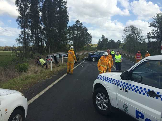 The scene of a crash on the Bruxner Highway, just outside Lismore.