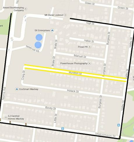 Queensland Police have released this map showing the cordoned off area in North Mackay
