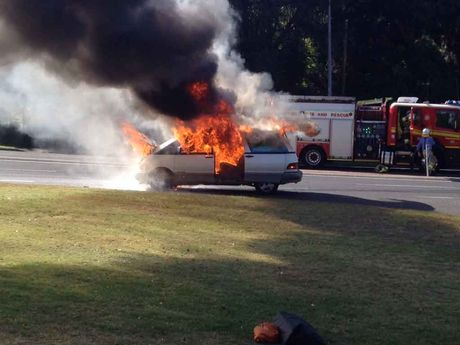 A car on fire near the top of the Toowoomba Range.