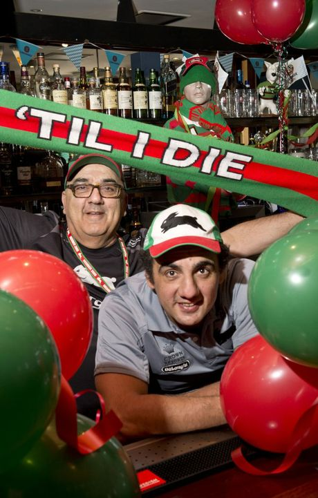 Michael Coorey and son Phil Coorey - Toowoomba's biggest Rabbitohs fans.