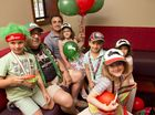 Xavier, Michael, Phil, Eleanor, Dominic, Victoria and Josephine Coorey - members of the Rabbitohs-mad Coorey family.