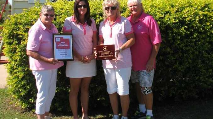 The Yeppoon Ladies No.2 team (from left) Jocelyn Lederhose, Nadine Battilana, Seryl Hocking and Shelly Horwell celebrate after they were crowned the 2014 Pennant champions.