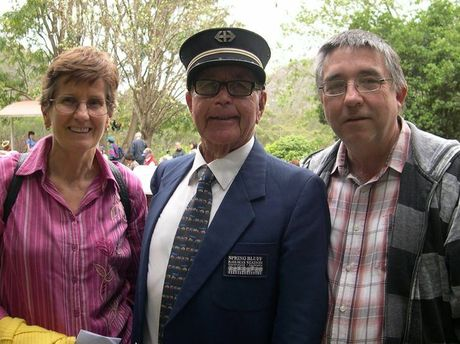 Margrit and her husband Kevin Rettke with acting station master Ralph Hickey.