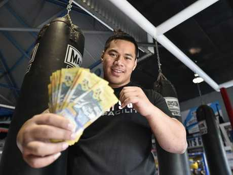 Toowoomba heavyweight boxer, Herman Ene-Purcell, challenging someone to take him on for $2000 cash.