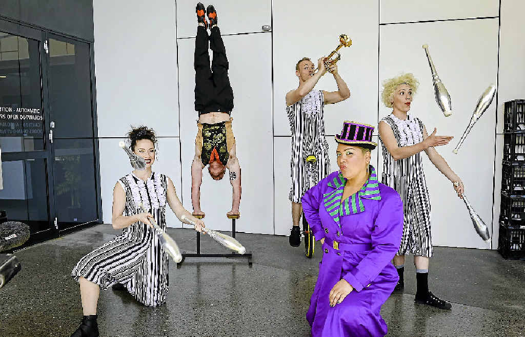 STARS: April Dawson, Nathan Kell, Kyle Raftery, Candy Bowers and Olivia Porter are here to perform in the Circus Oz show at the Gladstone Entertainment and Convention Centre on Saturday night.