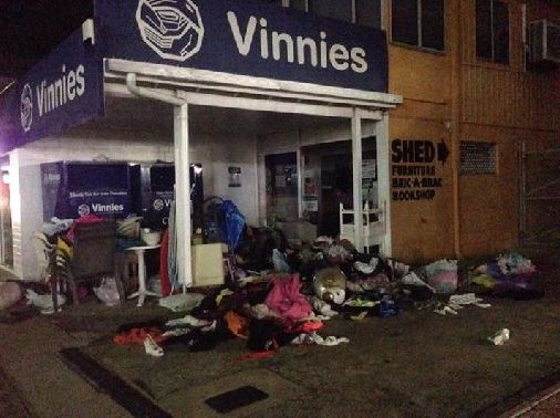 A mess left from people sifting through charity donations at St Vinnies Op Shop on Aerodrome Rd, Maroochydore.