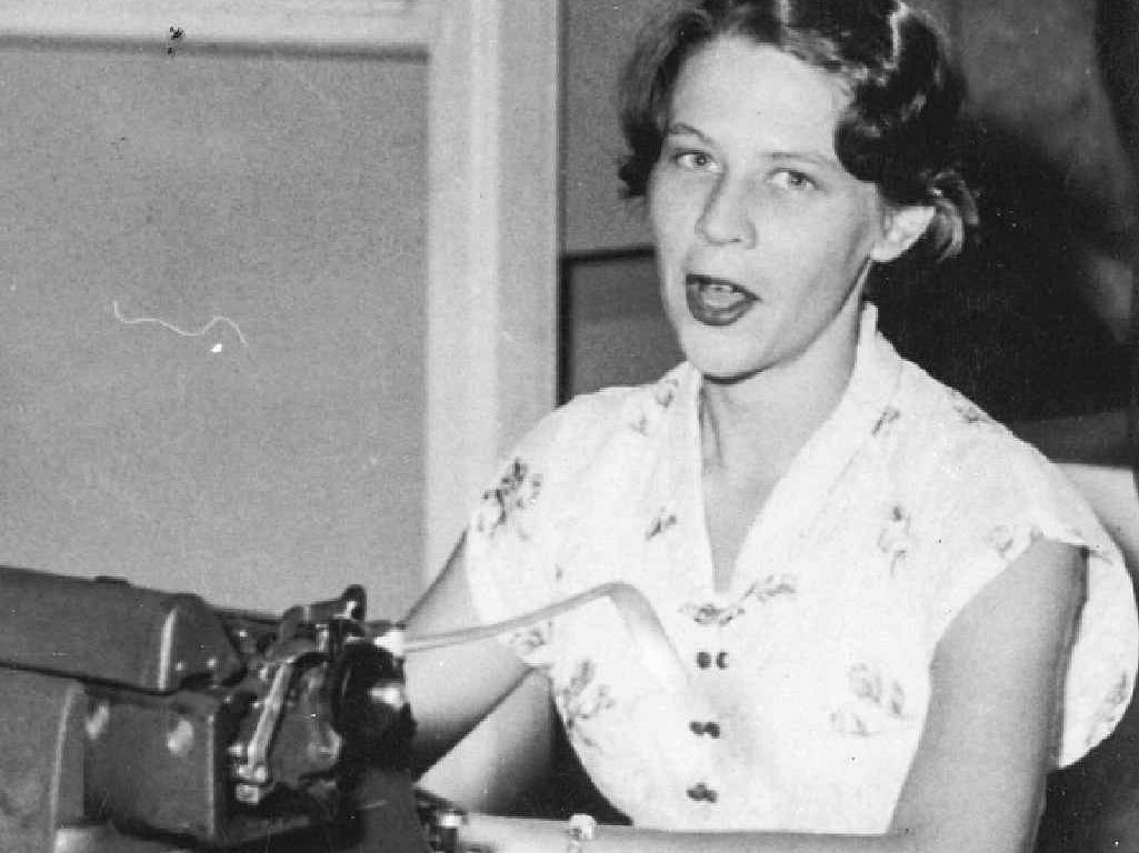 STARTING OUT: Lauretta McNab as a cadet reporter at The Daily Examiner in 1954.